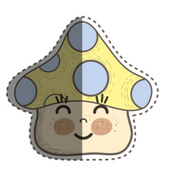 kawaii fangus happy cheeks and close eyes vector image