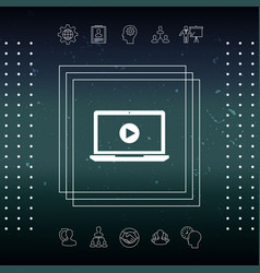 Laptop with play button icon vector