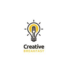 light bulb fork sun fried egg breakfast logo vector image
