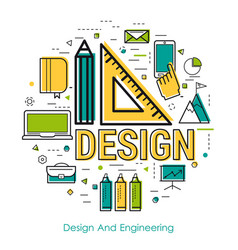 line art - design and engineering vector image