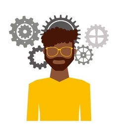 Man avatar with gears machine icon vector