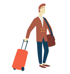 man business trip traveling and tourism waiting vector image