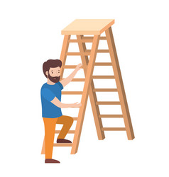 man with wooden stair avatar character vector image