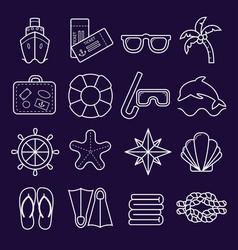 marine set of icons icons isolated on dark vector image