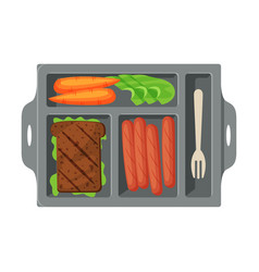 Meal tray filled with sandwich sausages and vector