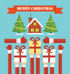 merry christmas modern concept flat design vector image vector image
