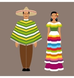 Mexican man and woman in traditional clothes vector image