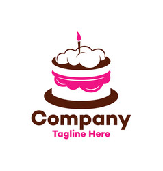 Modern chocolate cake with a candle logo vector
