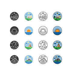 nature vacation camping set icons logos vector image
