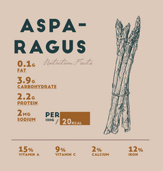 Nutrition facts of raw asparagus hand draw sketch vector