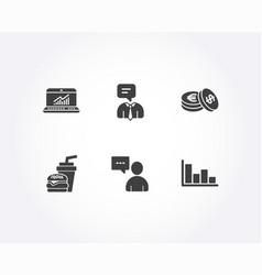 Online statistics savings and hamburger icons vector