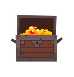 opened antique chest full of golden coins and vector image