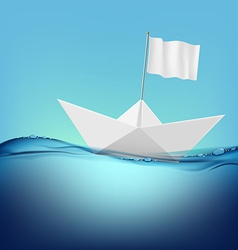 Paper boat with a white flag floats on the water vector