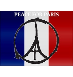 Peace logo at eiffel tower silhouette at vector image