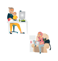 People working from home remote work set vector