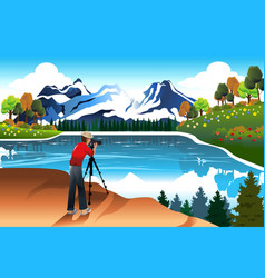 photographer taking picture a beautiful nature vector image