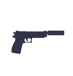 Pistol with silencer silhouette isolated vector