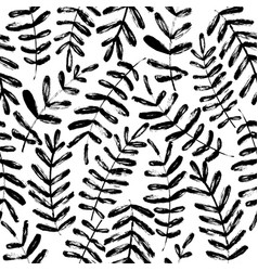 plant leaves hand drawn seamless pattern vector image