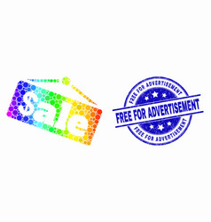 Rainbow colored dot sale announce icon and vector