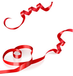 Red satin ribbon in the shape of heart vector