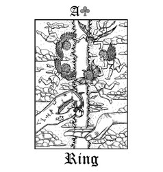 Ring tarot card from lenormand gothic mysteries vector