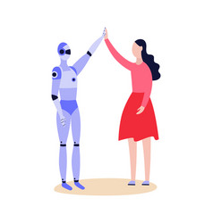 robot android and woman friendly greeting flat vector image