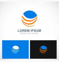 round abstract loop technology logo vector image