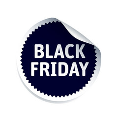 round sticker and text black friday vector image