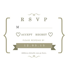 RSVP Wedding card gold ribbon theme vector image