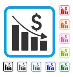 sales crisis chart framed icon vector image
