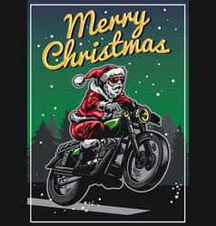 Santa claus riding motorcycle in christmas vector