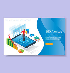 seo analysis website landing page design vector image