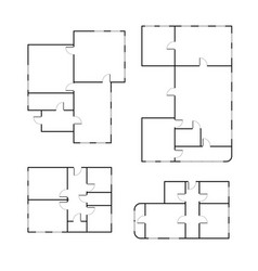 set different black and white house floor plans vector image