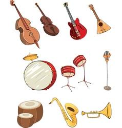 set of cartoon musical instrumen vector image