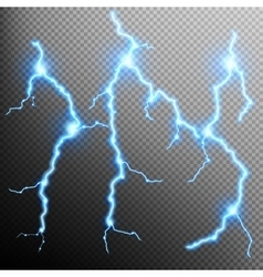 Set of the isolated realistic lightnings EPS 10 vector image