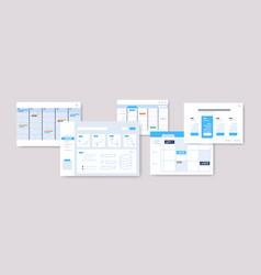 Set planning schedules infographic dashboard vector