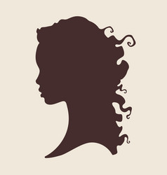 Silhouette beautiful curly african woman in vector