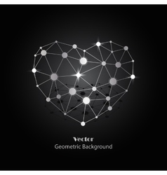 Silver heart made of connected lines and dots vector