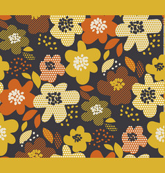 Simple free drawn floral seamless pattern vector