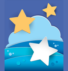 Stars and clouds on blue background vector