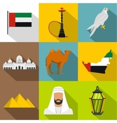 Stay in UAE icons set flat style vector
