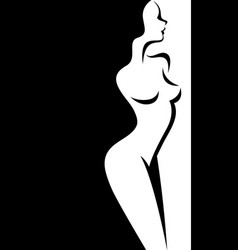 stylized silhouette beautiful nude woman vector image