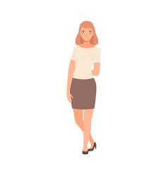 The girl holds a hand behind her back vector