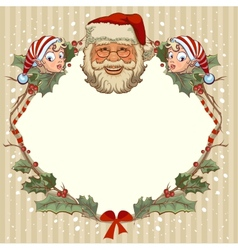 The head of Santa Claus and gnome Template cards vector