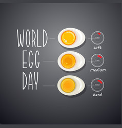 Three boiled eggs world egg day card vector