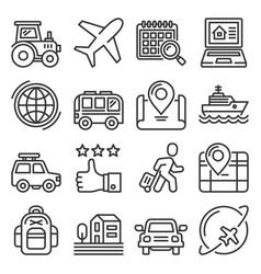 travel and tourism icons set on white background vector image