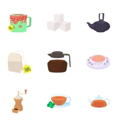 Types of drinks icons set cartoon style vector image