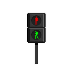 Vertical traffic light for pedestrians with human vector