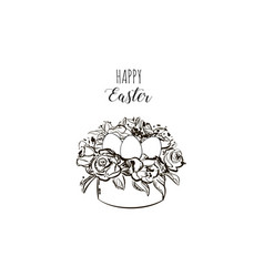 vintage happy easter card with basket eggs hand vector image