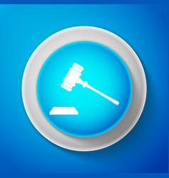 white judge gavel icon isolated on blue background vector image